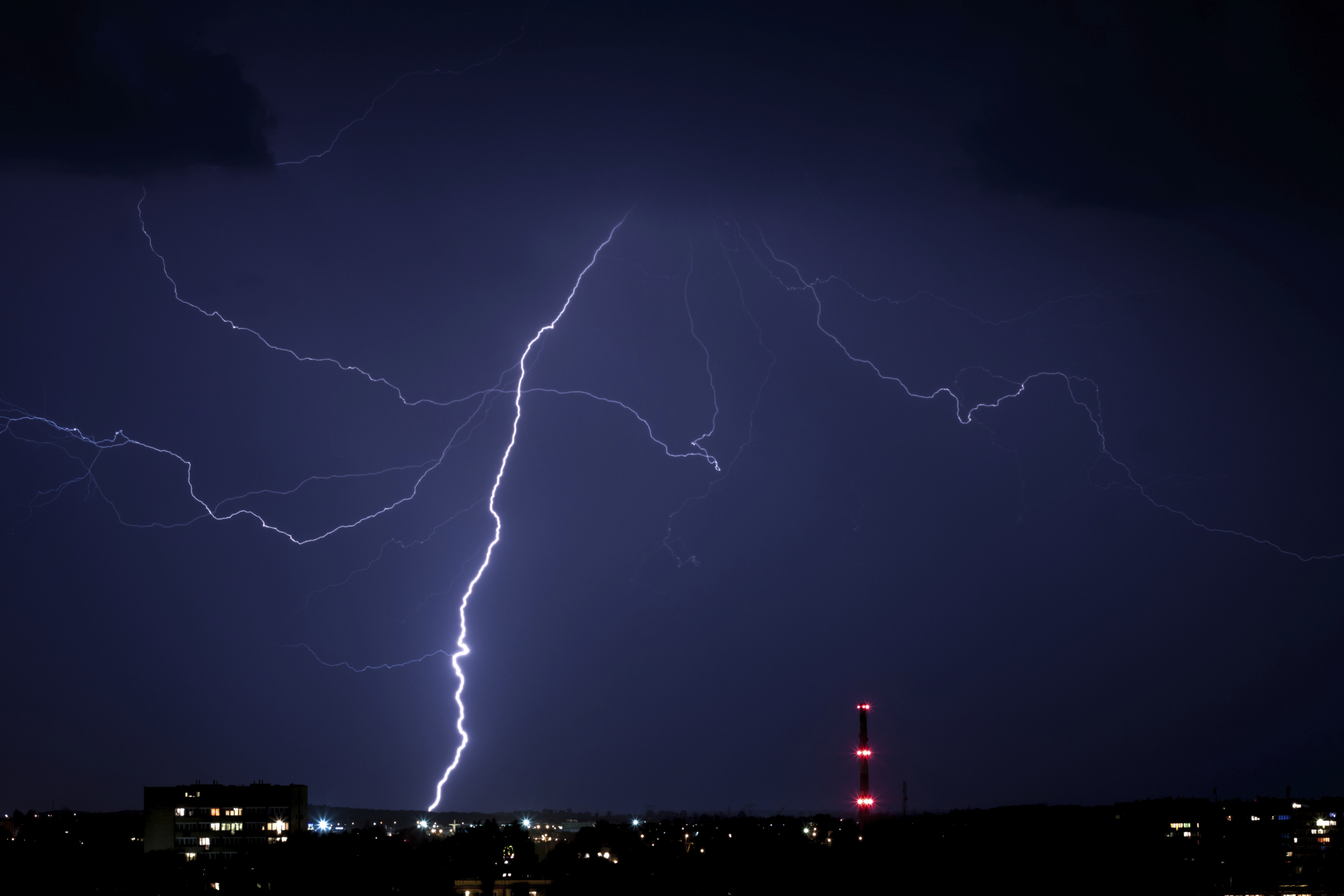 Lightening strike night sky