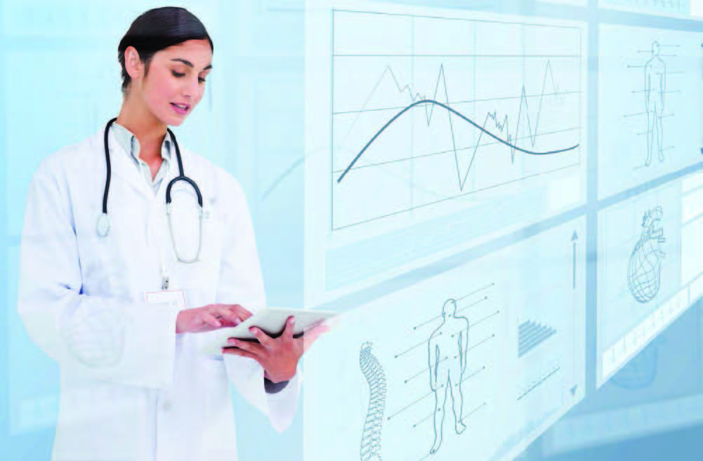 Woman doctor looking at tablet and statistics