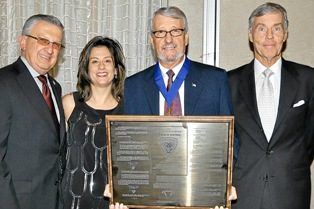 Texas Chiropractic College honored its Board of Regents Chairman, Dr. Donald J. Krippendorf, with the William D. Harper Science of Existence Award, the College's highest honor, at the 2011 Homecoming and License Renewal. Participating in the presentation were (l-r) Dr. Richard G. Brassard, TCC President; Dr. Yvette Nadeau, President of the TCC Alumni Association; Dr. Krippendorf; and Dr. Jack Christie, Vice Chairman of the Board of Regents. Dr Brassard and Dr. Christie are also past recipients of the Harper Award.