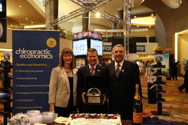 (L-R) Debbie Brown, CEO of the Florida Chiropractic Association; Kent Greenawalt, CEO of Foot Levelers; Joe Doyle, president of Chiropractic Economics.