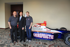 From left to right: Dr. John Wagner (founder Chiroracing), Dr. Keith Overland (ACA President), Brandon Wagner (Driver)