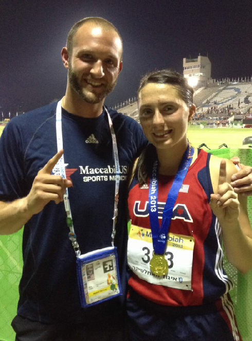 Brian Laiderman, DC, MS, with the Sports Medicine team of Team USA and World Maccabiah Games three-time Gold Medalist Shelby Hummel