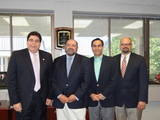 (L-R): NYCC President, Frank Nicchi, DC, MS; James DuMond, PhD, dean, School of Science, Marist College; John Pecchia, MBA, vice president of business affairs and CFO, Marist College; and Michael Mestan, DC, EdD, vice president and provost NYCC.