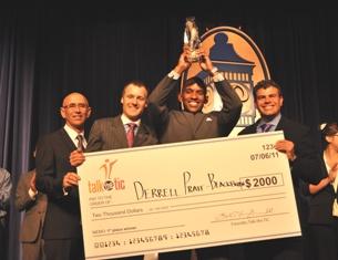 Dr. Lamarche, Dr. Van Slooten, Derell Pratt-Blackburn, 2011 Talk the TIC Champion, and Dr. Mancini