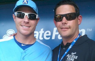Dr. Patrick Hammond '97, right, with Texas Rangers outfielder Josh Hamilton at the 2012 MLB All-Star Game.