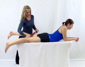 Hamstring massage with TheraBand Roller Massager+
